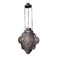 Rare Indo-Portuguese Silver Repousse Incense Burner