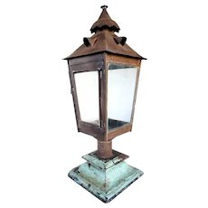 Anglo Indian Toleware Post Lantern on Painted Teak Base