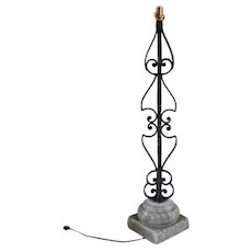 Large Italian Wrought Iron and Alabaster One-Light Table Lamp
