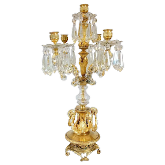 French Louis XVI Style Fire Gilt Bronze and Crystal Five-Light Candelabrum