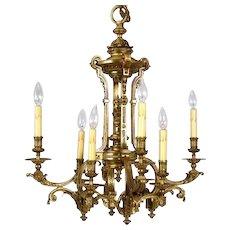 French Gilt Bronze Eight-Light Chandelier