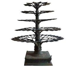 Rare Large South Indian Banyan Tree Bronze Aal Vilakku Temple Oil Lamp