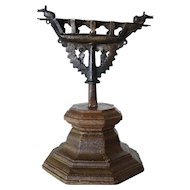 Indian Kerala Teak Base and Bronze Oil Five-Light Lamp