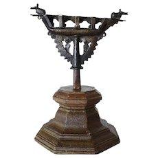 Indian Kerala Teak Base and Bronze Oil Five-Light Lamp