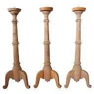 Set of Three Indo-Portuguese Teak Iron Pricket Candlesticks