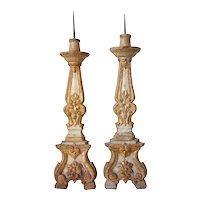 Pair of Indo-Portuguese Painted and Gilt Teak Pricket Candlesticks
