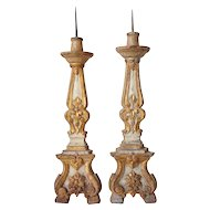 Pair of Indo-Portuguese Painted Teak Candlesticks