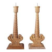 Pair of Indo-Portuguese Gilt Painted Teak Candlesticks