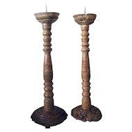 Pair of Indo-Portuguese Goan Teak Candlesticks