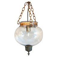 Small Anglo Indian Glass Globe One-Light Hall Pendant Light (Hundi)