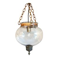 Small English Glass Globe One-Light Hall Lantern
