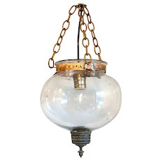 Small Anglo Indian Glass Globe One-Light Hall Pendant Light (Hundi)