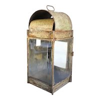 Anglo Indian Painted Iron and Tole Candle Wall Lantern
