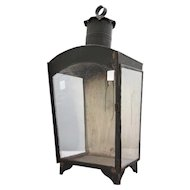 Large Anglo Indian Black Painted Iron Wall Lantern