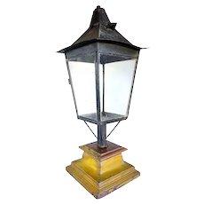 Large English Black Toleware Post Lantern on Painted Teak Base