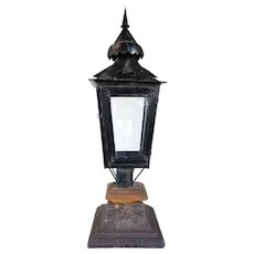 Anglo Indian Black Toleware Post Lantern on Teak Base