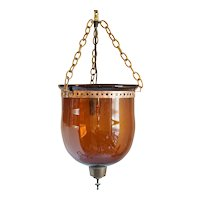 English Regency Style Amber Bristol Glass One-Light Hall Lantern