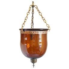 Anglo Indian Amber Bristol Glass One-Light Hall Lantern (Hundi)