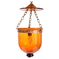 Belgian Val St. Lambert Amber Glass Hall Pendant Light