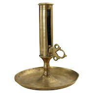 Early Brass Push-Up Candlestick