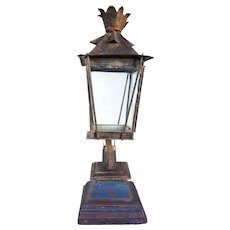 Anglo Indian Painted Toleware Post Lantern on Teak Base