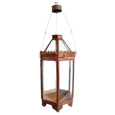 Anglo Indian Red Toleware & Glass Hexagonal Hanging Lantern