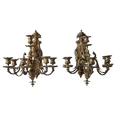 Pair of French Napoleon III Gilt Bronze Six-Light Sconces