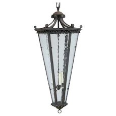 Vintage Argentine Wrought Iron Three-Light Hanging Lantern