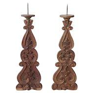 Pair of Indo-Portuguese Teak Altar Candlesticks
