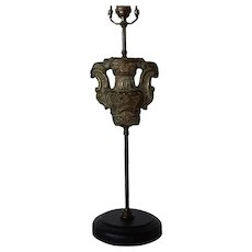 Antique Italian Rococo Repousse Brass Altar Candlestick Fragment as a Table Lamp