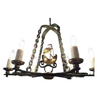 Vintage Swedish Brass and Bronze Six-Light Chandelier with Ship Decoration