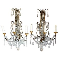Pair of Italian Rococo Style Crystal Beaded, Gilt Wood and Wrought Iron Three-Light Wall Sconces