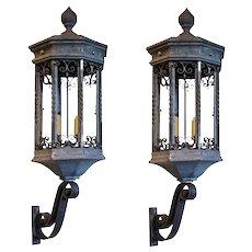 Pair of American Galvanized Metal and Iron Exterior Bracket Lanterns