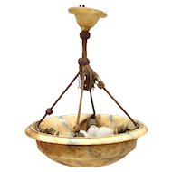 Italian Alabaster Hanging Dish Pendant Light