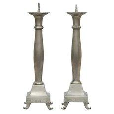 Large Pair of Pewter Candlesticks