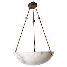 Italian Alabaster Hanging Dish Pendant Light