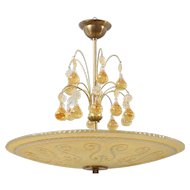 Swedish Orrefors Art Deco Brass and Etched Glass Bowl Pendant Light