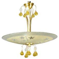 Swedish Art Deco Glass Bowl Ceiling Pendant Light