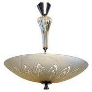 Swedish Orrefors Frosted Glass Bowl Pendant Light