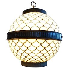 American Leaded Glass Globe Hanging Four-Light Pendant Hall Light