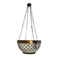 American Brass Mounted Leaded Glass Four-Light Pendant Bowl Light Fixture