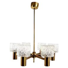 Swedish CARL FAGERLUND for Orrefors Glass and Brass Six-Light Chandelier