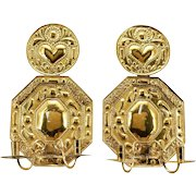 Pair of Swedish Baroque Style Brass Repousse Two-Light Candle Sconces