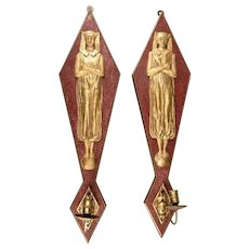 Pair of French Egyptian Revival One-Arm Candle Wall Sconces