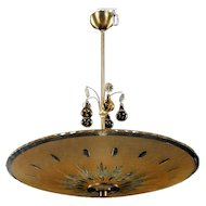 Swedish Crystal Glass Bowl Shade and Drops Ceiling Pendant Light