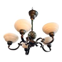 Swedish Patinated Metal and Alabaster Five-Candlearm Chandelier