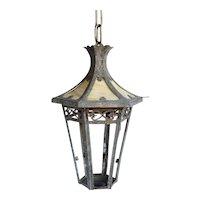 American Arts and Crafts Brass Hexagonal Hanging Pendant Lantern