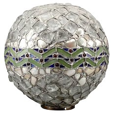 Swedish Jugendstil Mosaic Leaded Glass Globe Light Shade