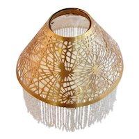American Tiffany Studios Gilt Bronze Fringed Pine Needle Candle Shade