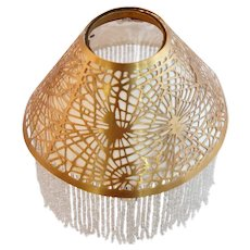 American Tiffany Studios Gilt Bronze Fringed Pine Needle Candle Shade
